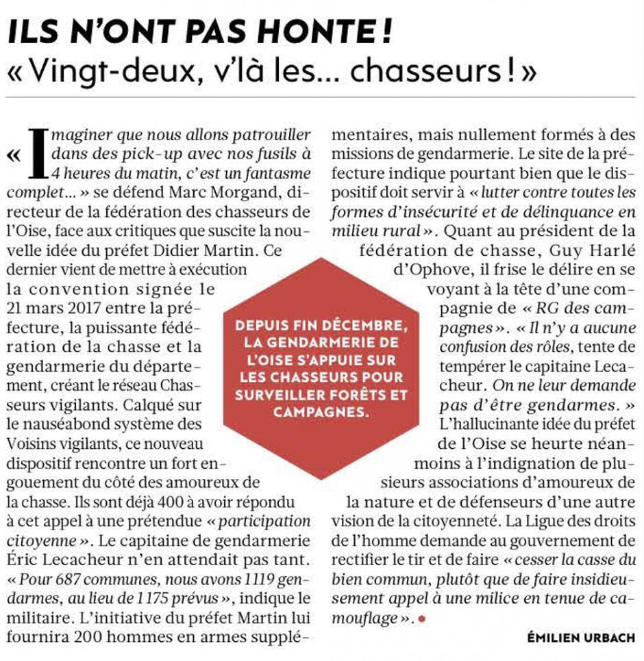 20180110-L'Huma-Oise-« Vingt-deux, v'là les… chasseurs ! »