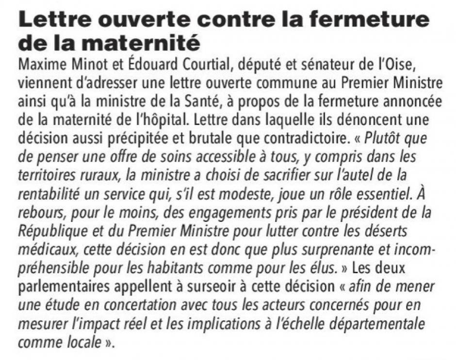 20180115-CP-Clermont-Lettre ouverte contre la fermeture de la maternité
