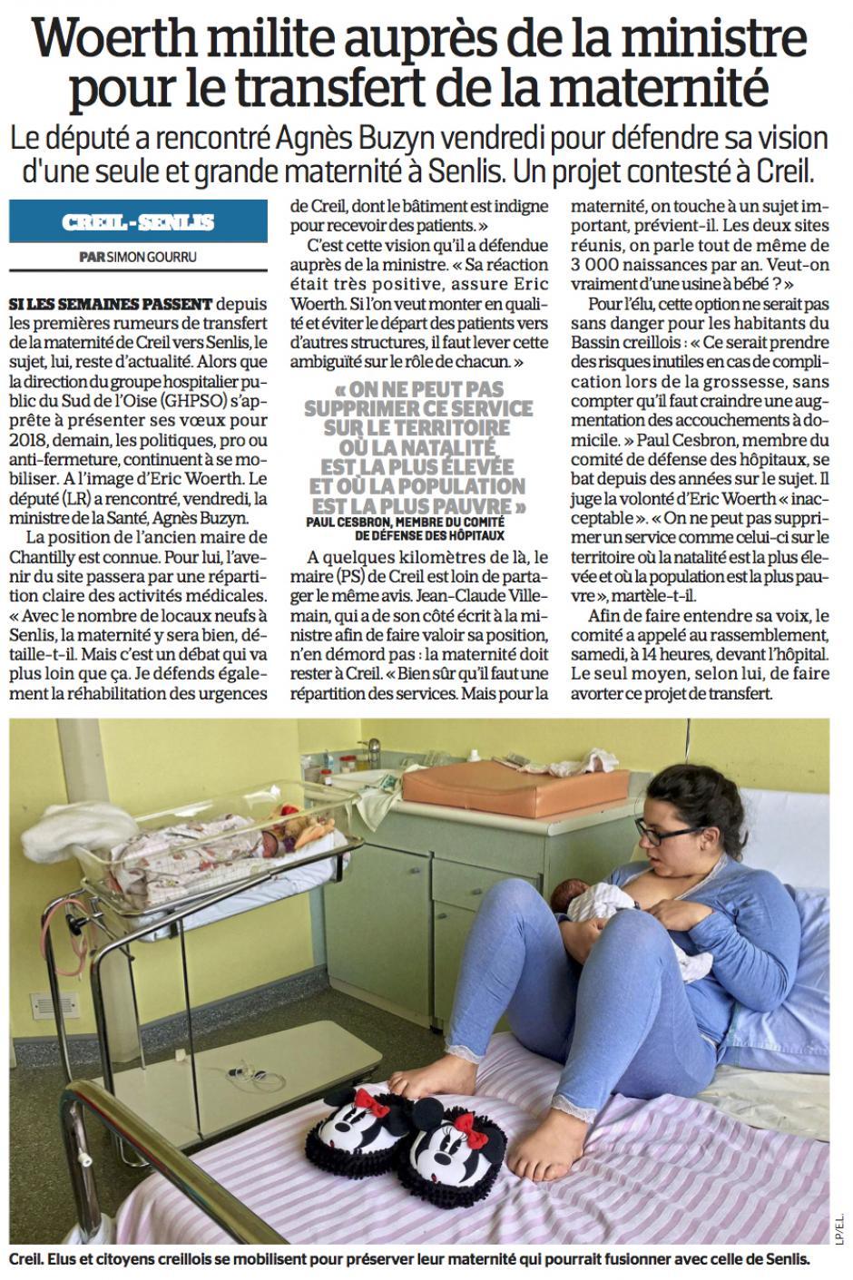 20180122-LeP-Creil-Wœrth milite auprès de la ministre pour le transfert de la maternité