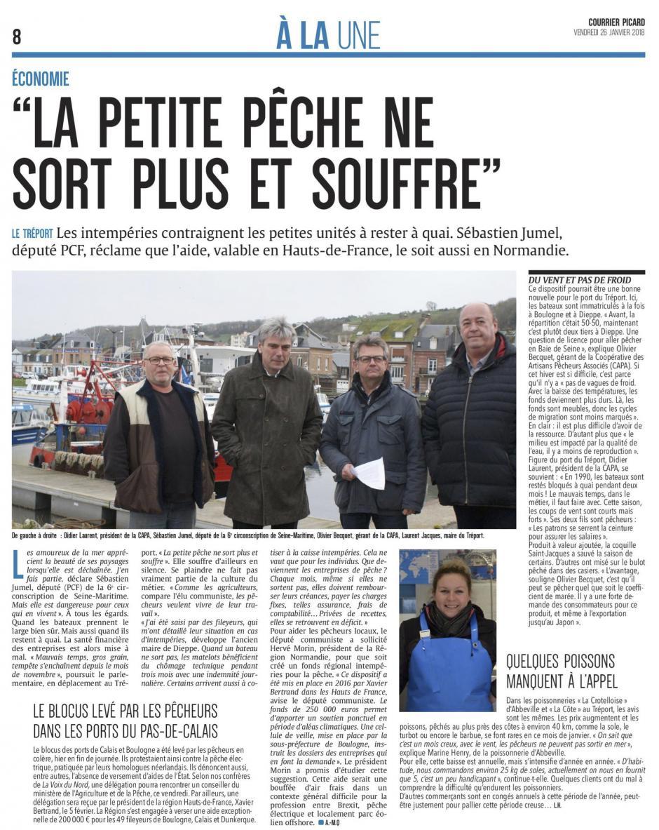 20180126-CP-Le Tréport-Sébastien Jumel : « La petite pêche ne sort plus et souffre » [édition Picardie maritime]