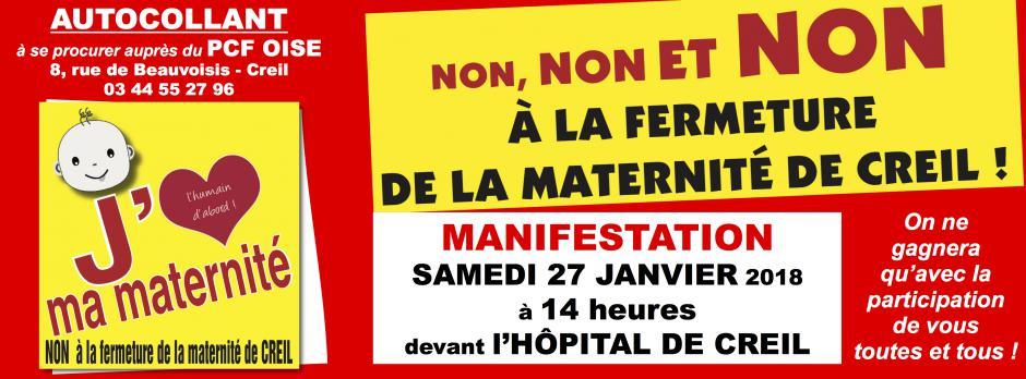 27 janvier, Creil - Comité de défense-Manifestation contre la fermeture de la maternité