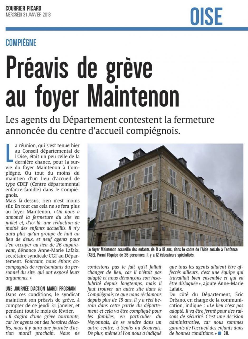 20180131-CP-Compiègne-Préavis de grève au foyer Maintenon