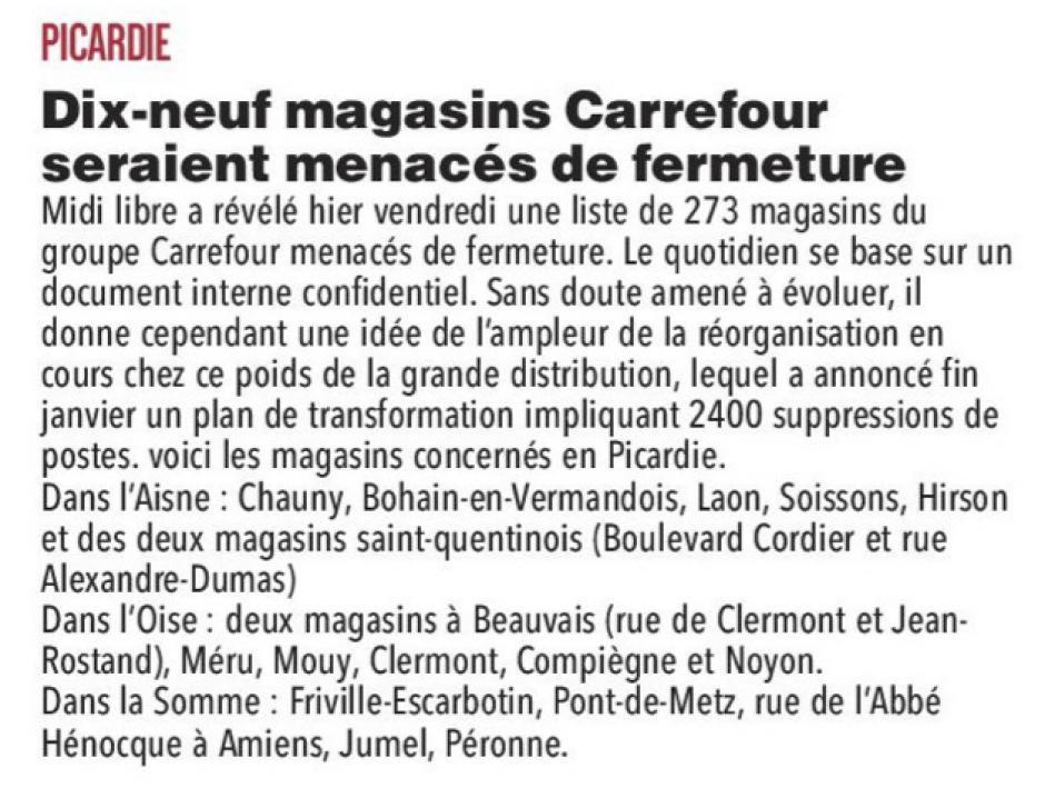 20180203-CP-Picardie-Dix-neuf magasins Carrefour seraient menacés de fermeture