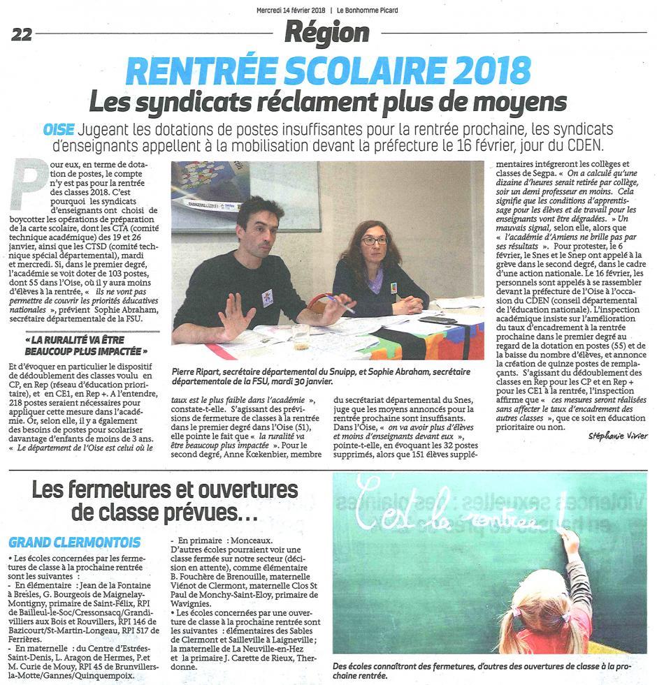20180214-BonP-Oise-Rentrée scolaire 2018 : les syndicats réclament plus de moyens
