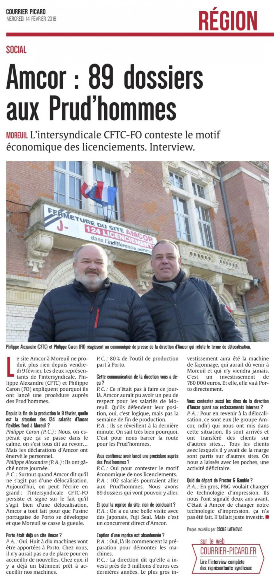 20180214-CP-Moreuil-Amcor : 89 dossiers aux Prud'hommes
