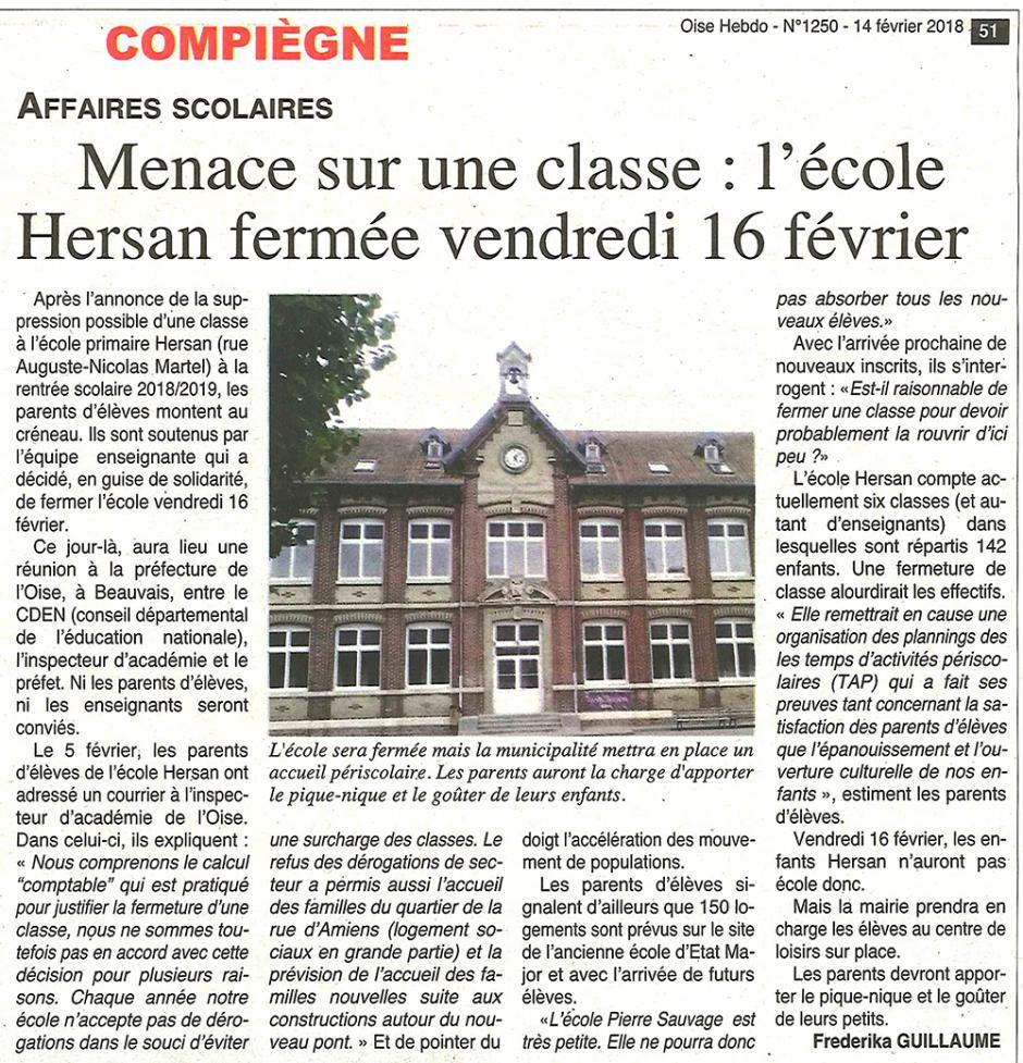 20180214-OH-Compiègne-Menace sur une classe : l'école Hersan fermée vendredi 16 février