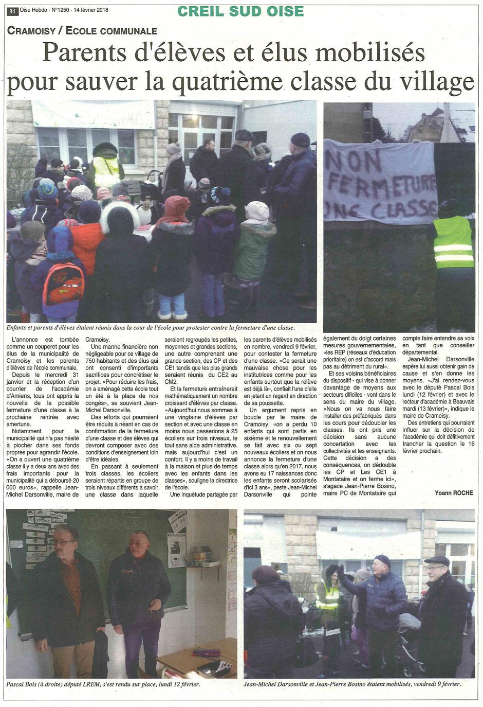 20180214-OH-Cramoisy-Parents d'élèves et élus mobilisés pour sauver la quatrième classe du village