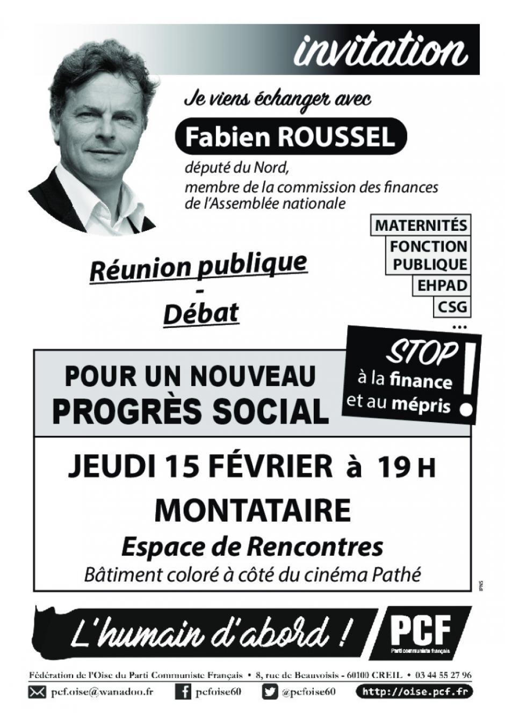 Affichette « Réunion publique-débat avec Fabien Roussel » - PCF Oise, 15 février 2018