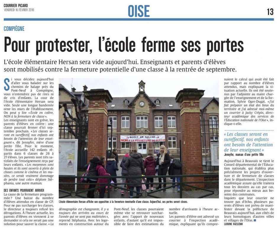20180216-CP-Compiègne-Pour protester, l'école ferme ses portes