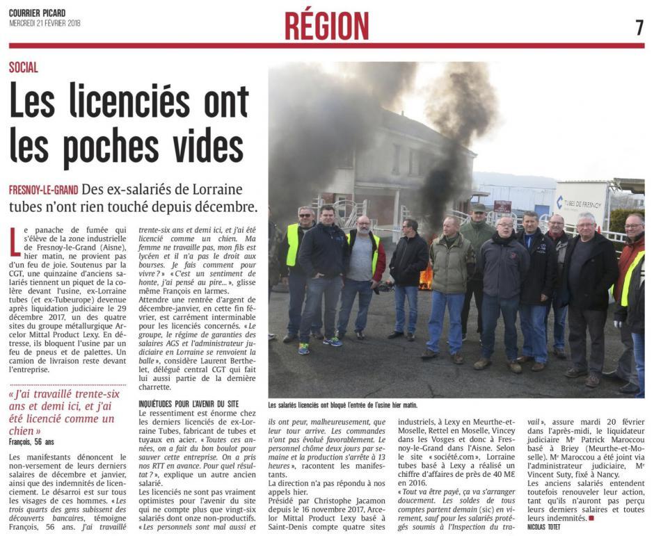 20180221-CP-Fresnoy-le-Grand-Les licenciés ont les poches vides [Arcelor Mittal]