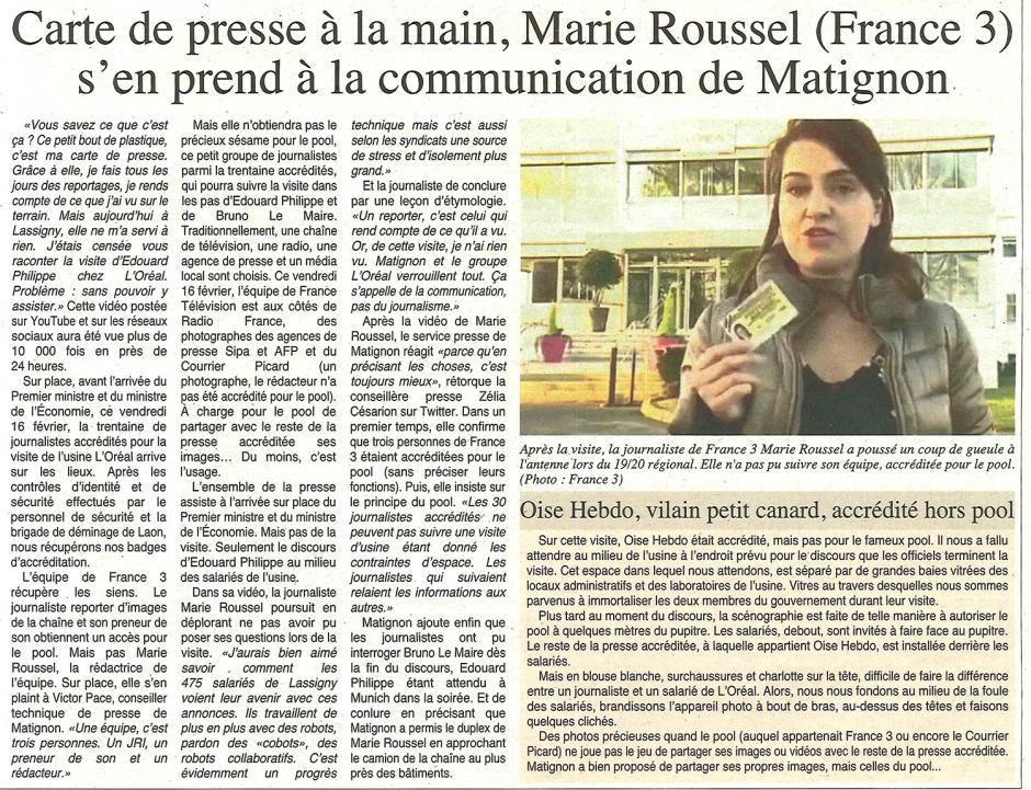 20180221-OH-Lassigny-Carte de presse à la main, la journaliste (France 3) s'en prend à la communication de Matignon