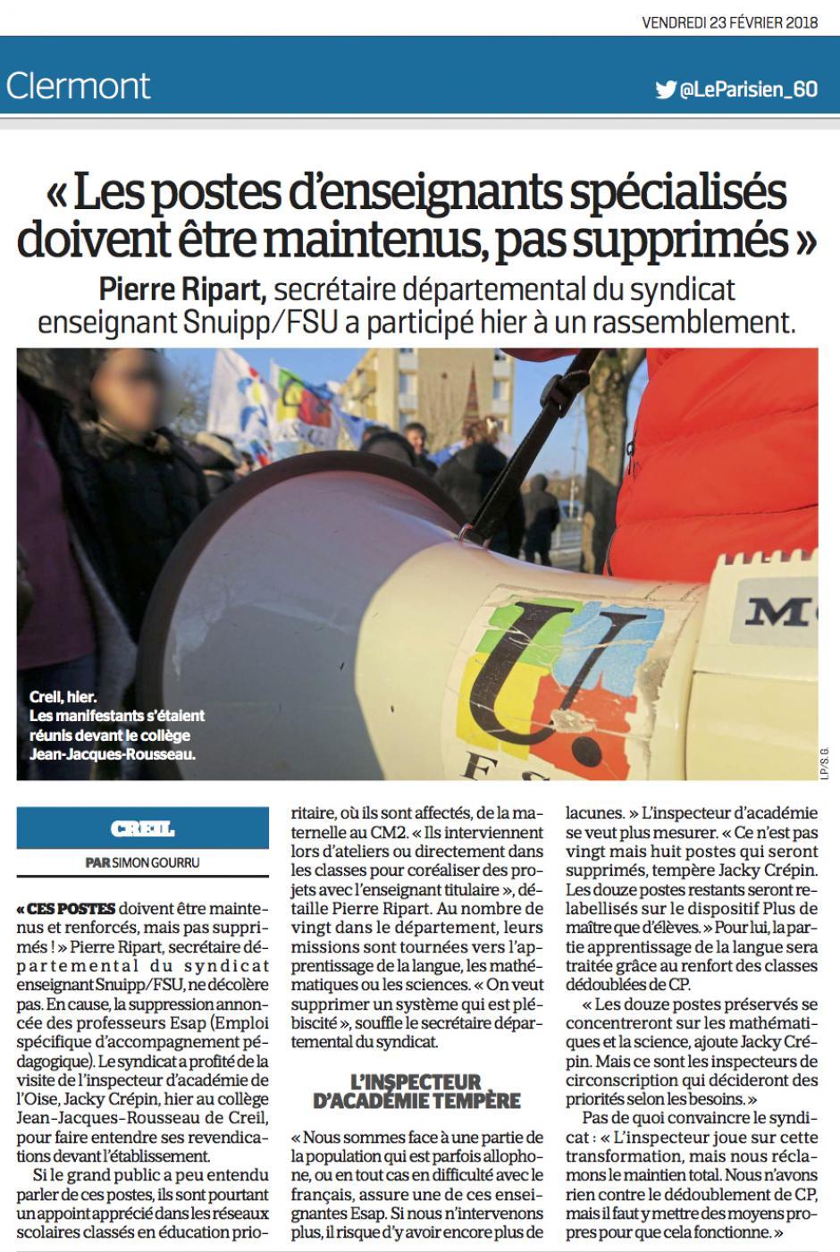 20180223-LeP-Creil-Pierre Ripart « Les postes d'enseignants spécialisés doivent être maintenus, pas supprimés »