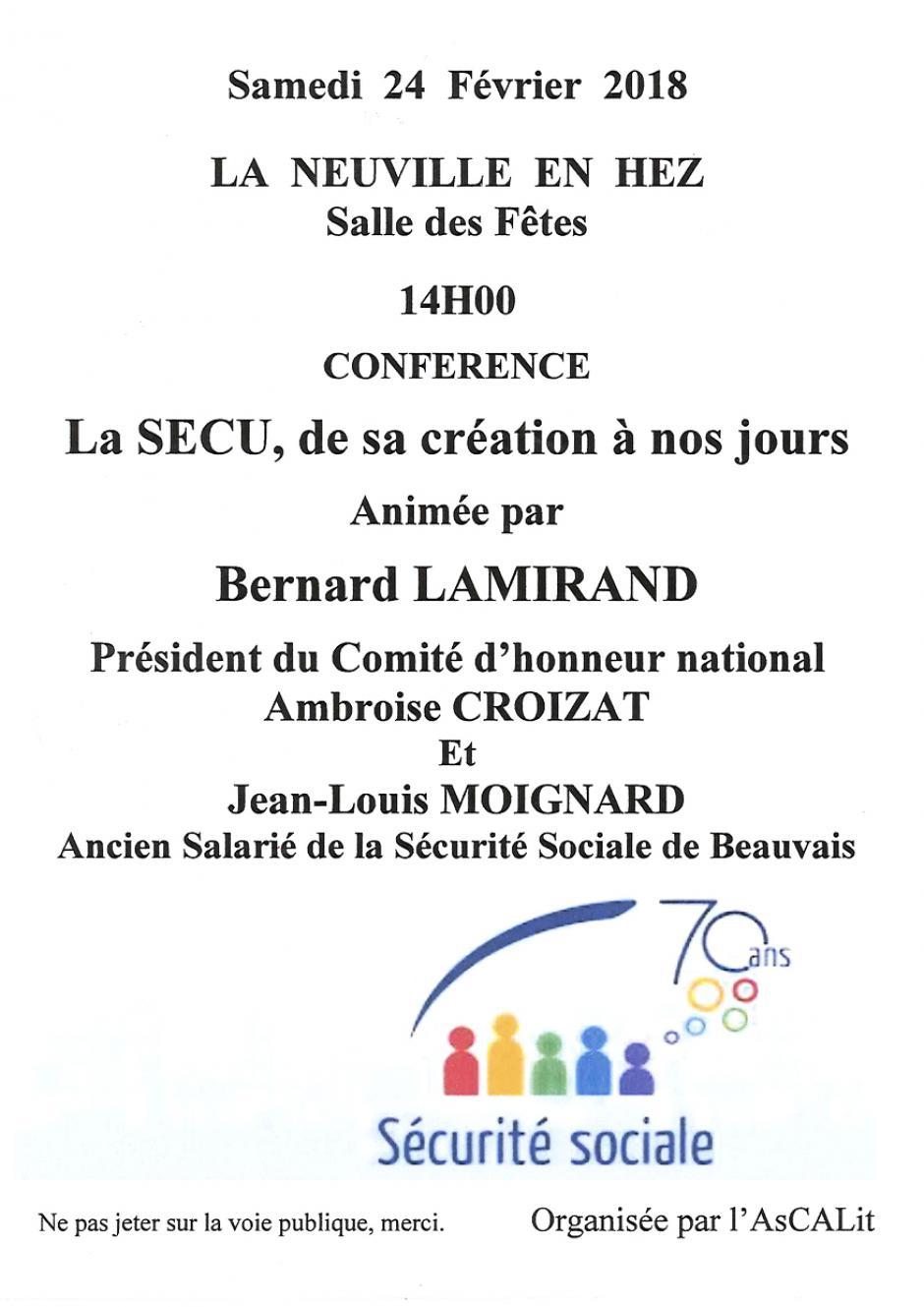 24 février, La Neuville-en-Hez - Conférence « La Sécu, de sa création à nos jours », avec Bernard Lamirand et Jean-Louis Moignard