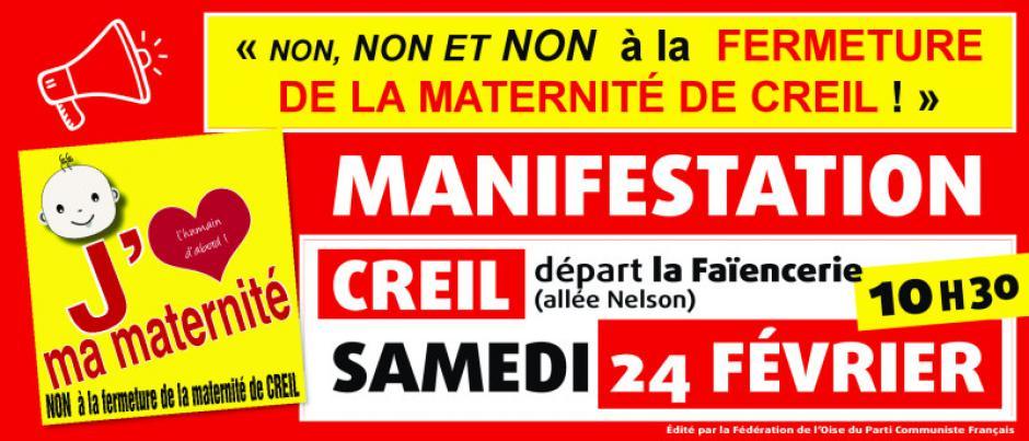Bandeau « Manifestation contre la fermeture de la maternité de Creil » - PCF Oise, 24 février 2018