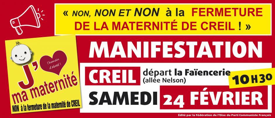 24 février, Creil - Manifestation contre la fermeture de la maternité de Creil