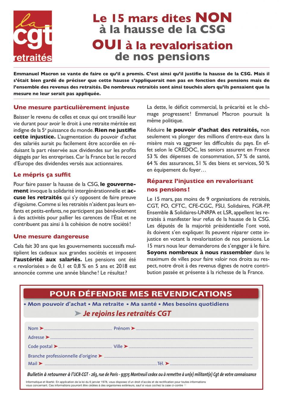 Tract « Non à la hausse de la CGS - Oui à la revalorisation de nos retraite » - UCR-CGT, février 2018