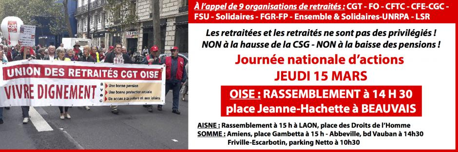 15 mars, Beauvais - Manifestation des retraités « Non à la hausse de la CSG - Non à la baisse des pensions ! »