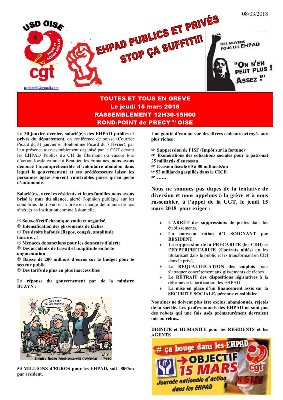 Tract « Ehpad publics et privés, stop ça suffit ! Des moyens pour les Ehpad ! » - USD CGT Oise, 8 mars 2018