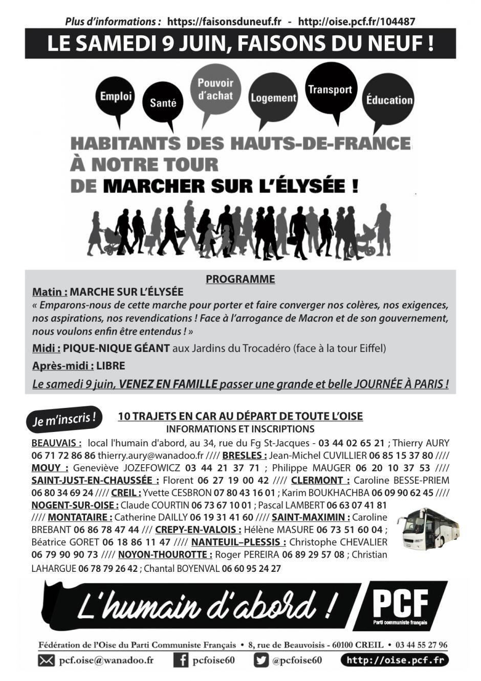Flyer « Habitants des Hauts-de-France, à notre tour de marcher sur l'Élysée » - PCF Oise, mars 2018
