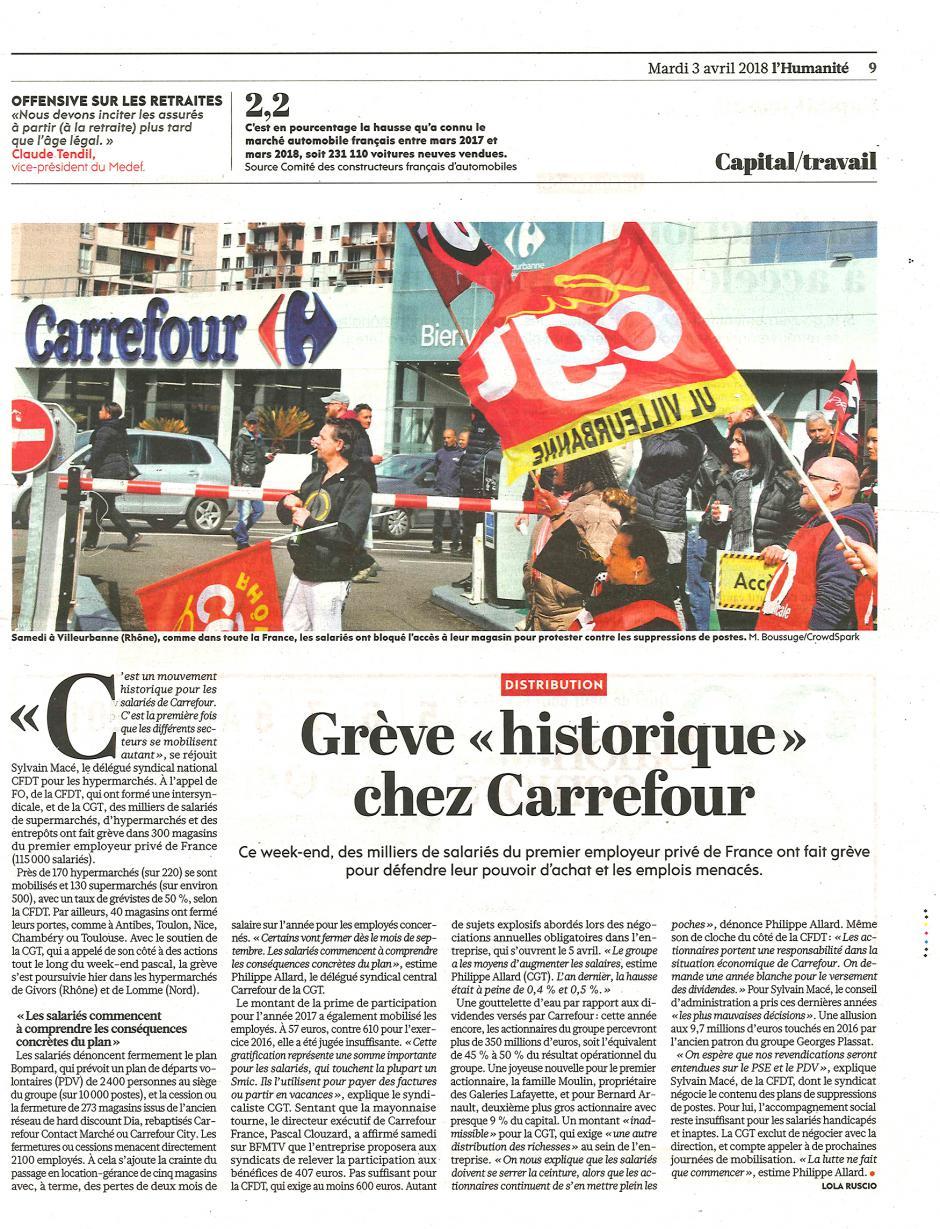 20180403-L'Huma-France-Grève historique chez Carrefour