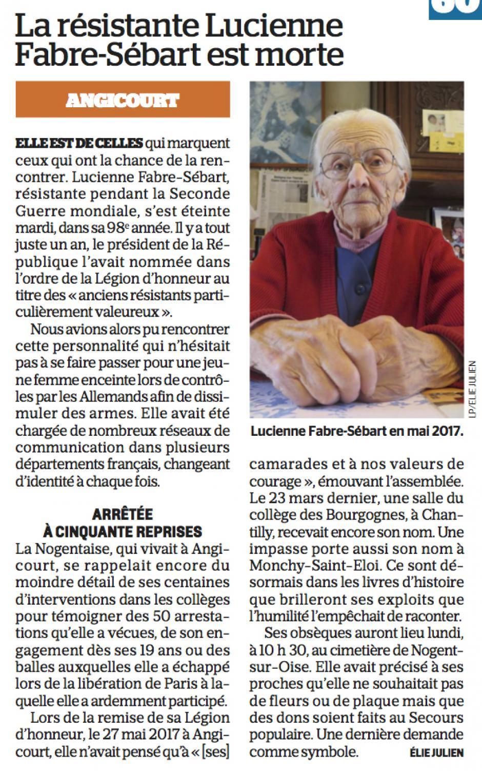 20180413-LeP-Oise-La résistante Lucienne Fabre-Sébart est morte