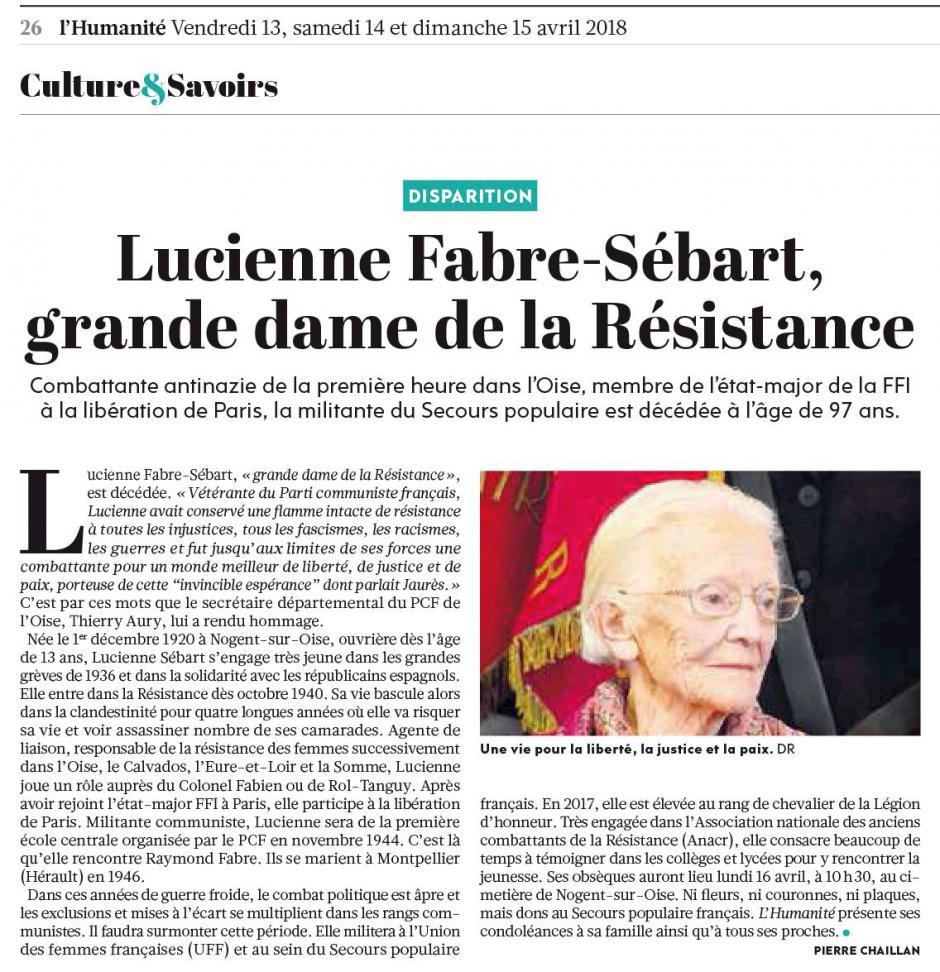 20180414-L'Huma-Oise-Lucienne Fabre-Sébart, grande dame de la Résistance