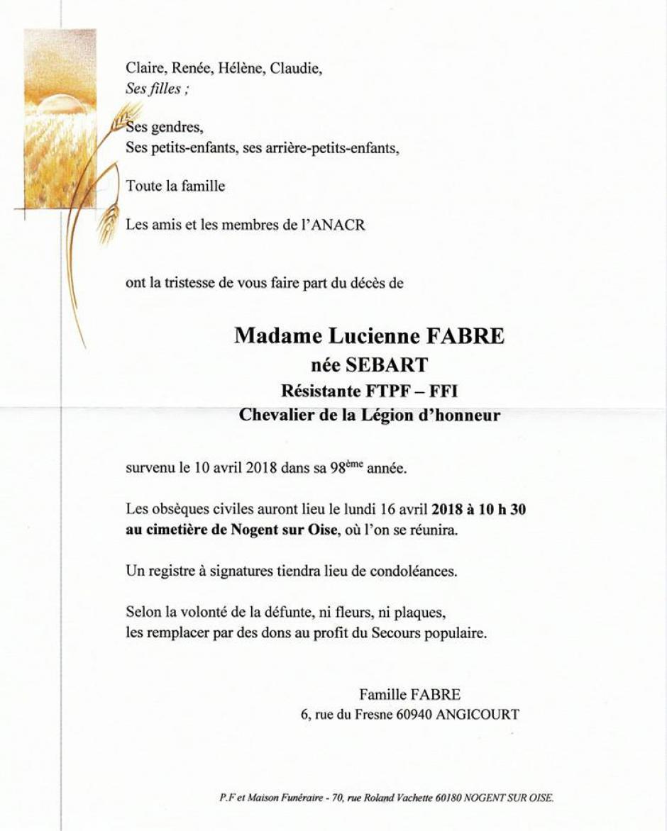 Avis d'obsèques de Lucienne Fabre-Sébart