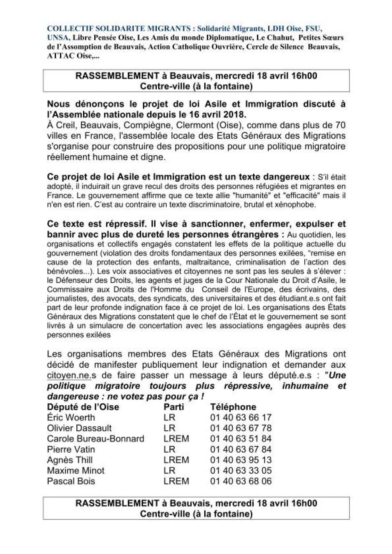 18 avril, Beauvais - Collectif Solidarité Migrants-Rassemblement contre le projet de loi Asile et Immigration