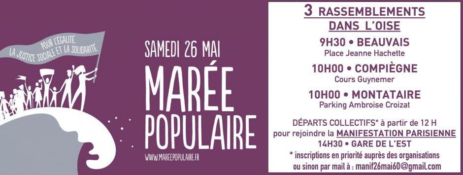 26 mai, Beauvais, Compiègne, Montataire - «Marée populaire » pour l'égalité, la justice sociale et la solidarité