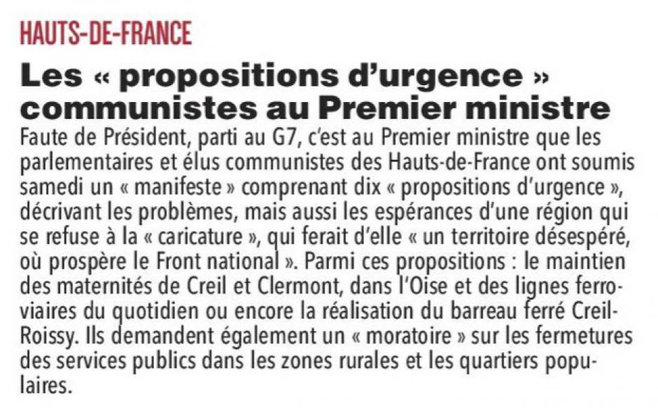 20180611-CP-Hauts-de-France-Les « propositions d'urgence » communistes au Premier ministre