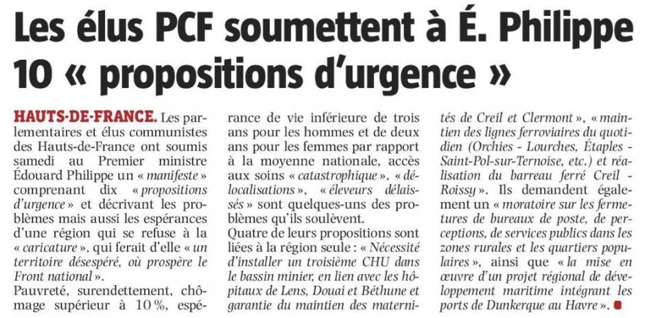 20180611-LaVdN-Hauts-de-France-Les élus PCF soumette à É. Philippe 10 « propositions d'urgence »
