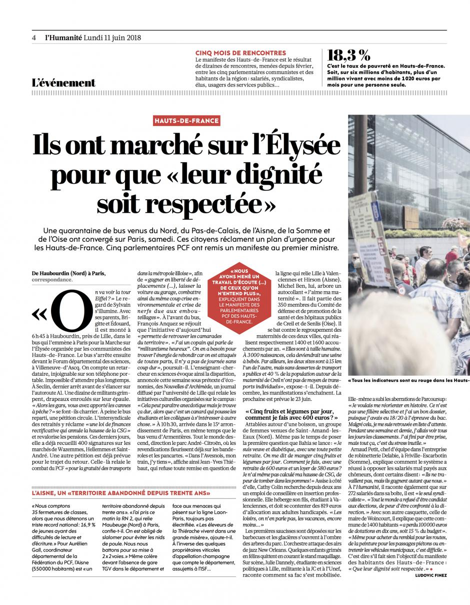 20180611-L'Huma-Hauts-de-France-Ils ont marché sur l'Élysée pour que « leur dignité soit respectée »