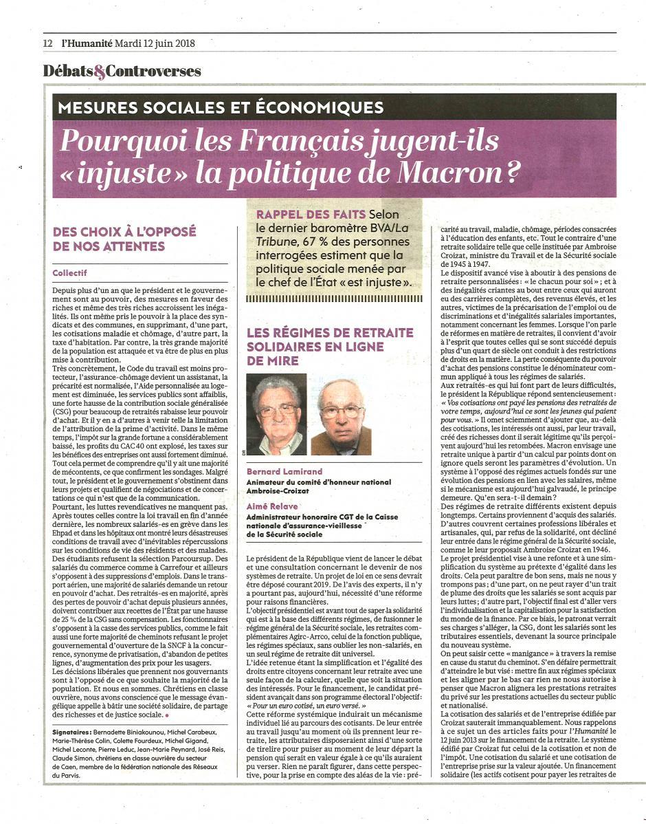 Bernard Lamirand et Aimé Relave : « Les régimes de retraite solidaires en ligne de mire » - L'Humanité, 12 juin 2018