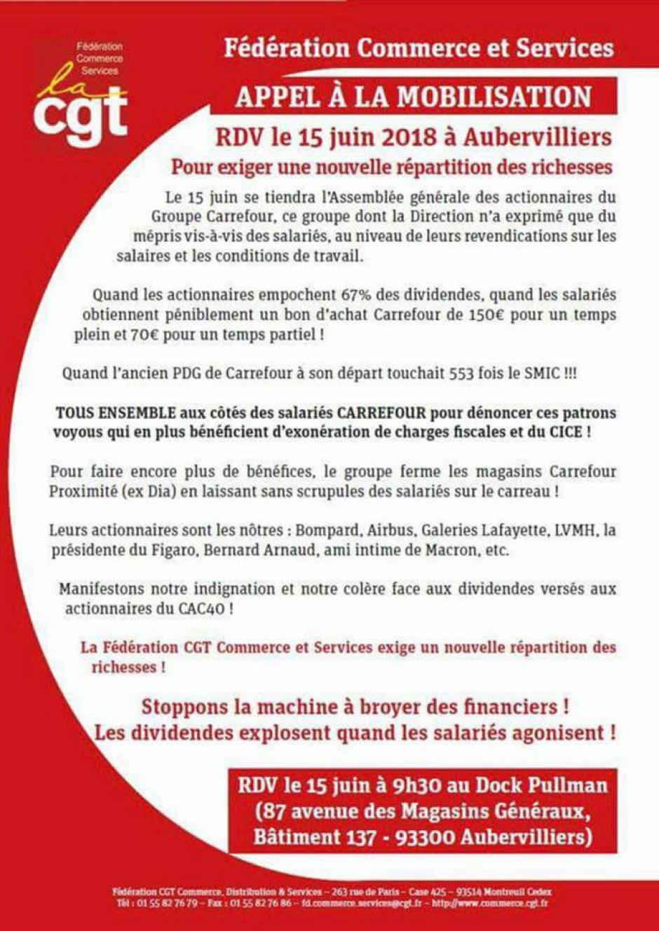 Tract « Carrefour : Appel à la mobilisation pour exiger une autre répartition des richesses » - CGT Commerce et Services, 15 juin 2018