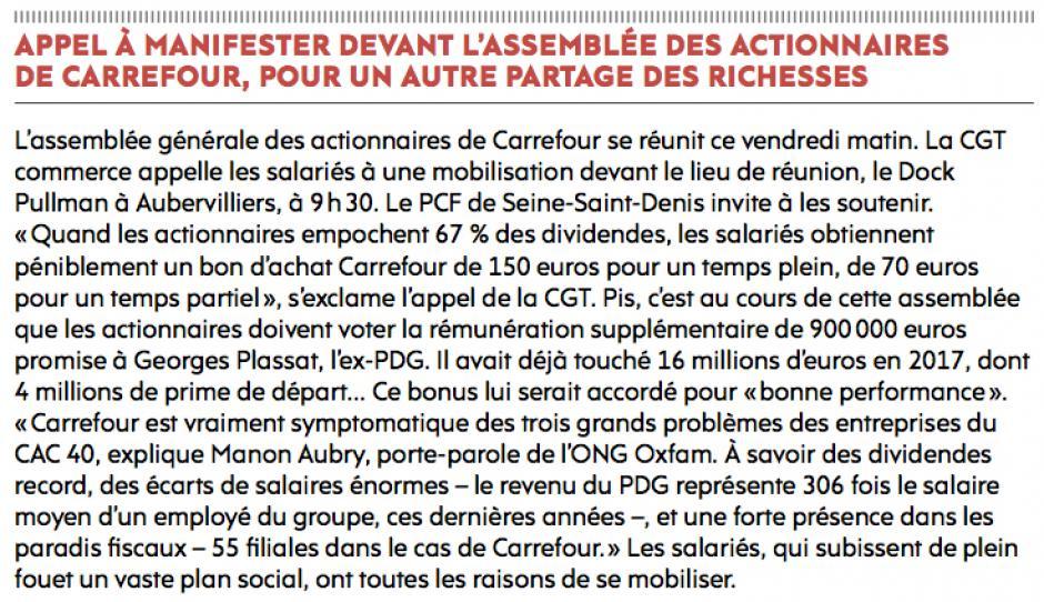 20180615-L'Huma-Aubervilliers-Appel à manifester devant l'assemblée des actionnaires de Carrefour, pour un autre partage des richesses