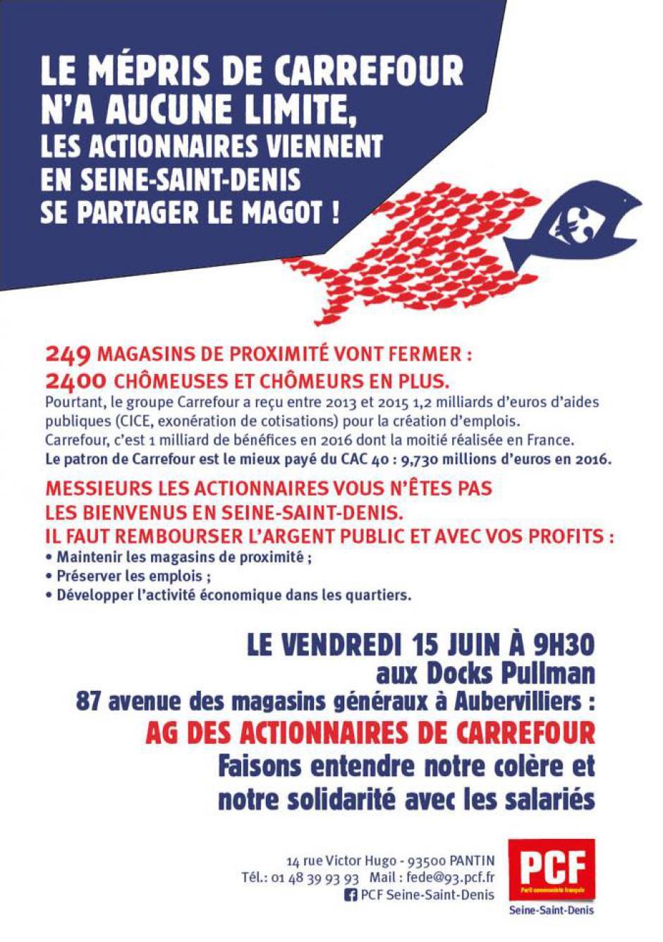 15 juin, Aubervilliers - AG des actionnaires de Carrefour : faisons entendre notre colère et notre solidarité avec les salariés
