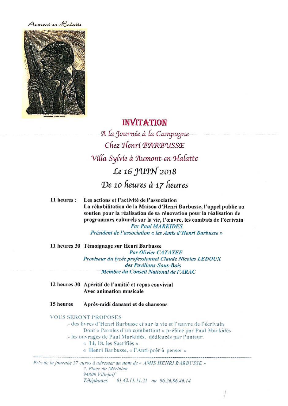 16 juin, Aumont-en-Halatte - Les Amis d'Henri Barbusse-La Journée à la campagne avec Henri Barbusse