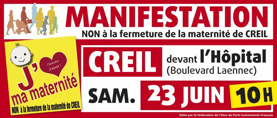23 juin, Creil - Comité de défense-Rassemblement « Non à la fermeture de la maternité »