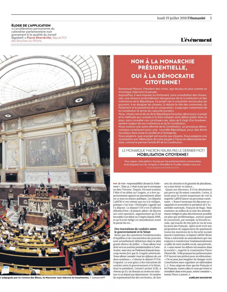 20180719-L'Huma-France-Cet été, E. Macron veut se tailler un régime sur mesure