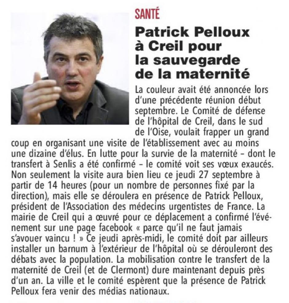 20180927-CP-Creil-Patrick Pelloux à Creil pour la sauvegarde de la maternité [pages régionales]