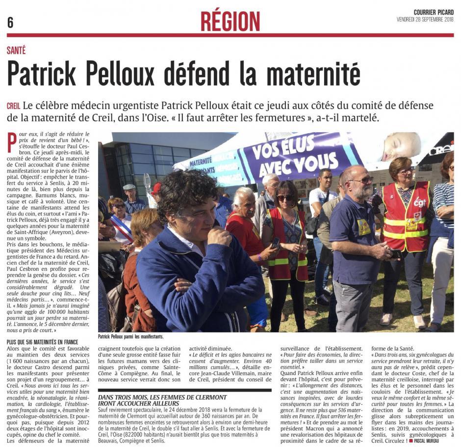 20180928-CP-Creil-Patrick Pelloux défend la maternité [pages régionales]