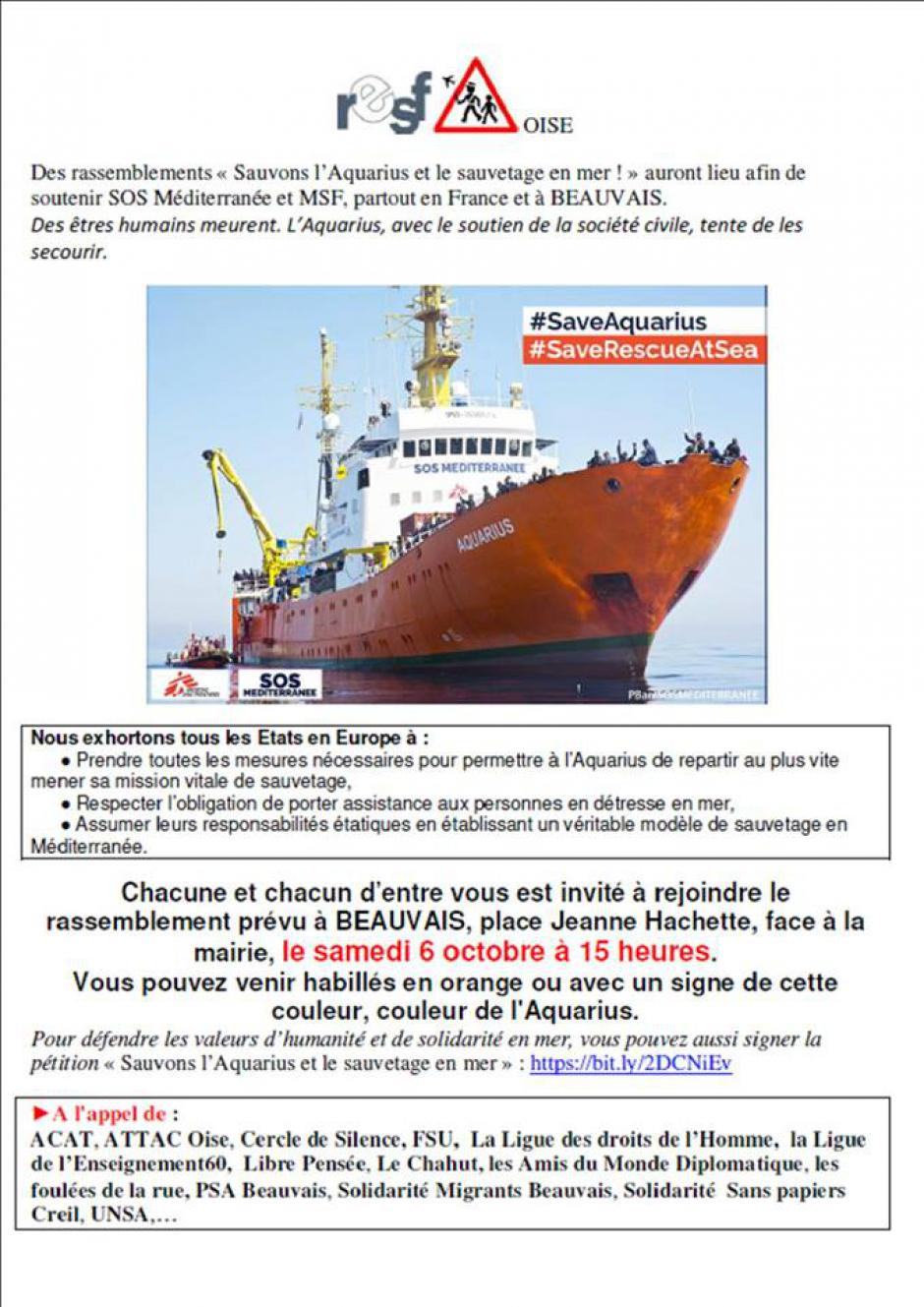 6 octobre, Beauvais - Rassemblement « Sauvons l'Aquarius et le sauvetage en mer »