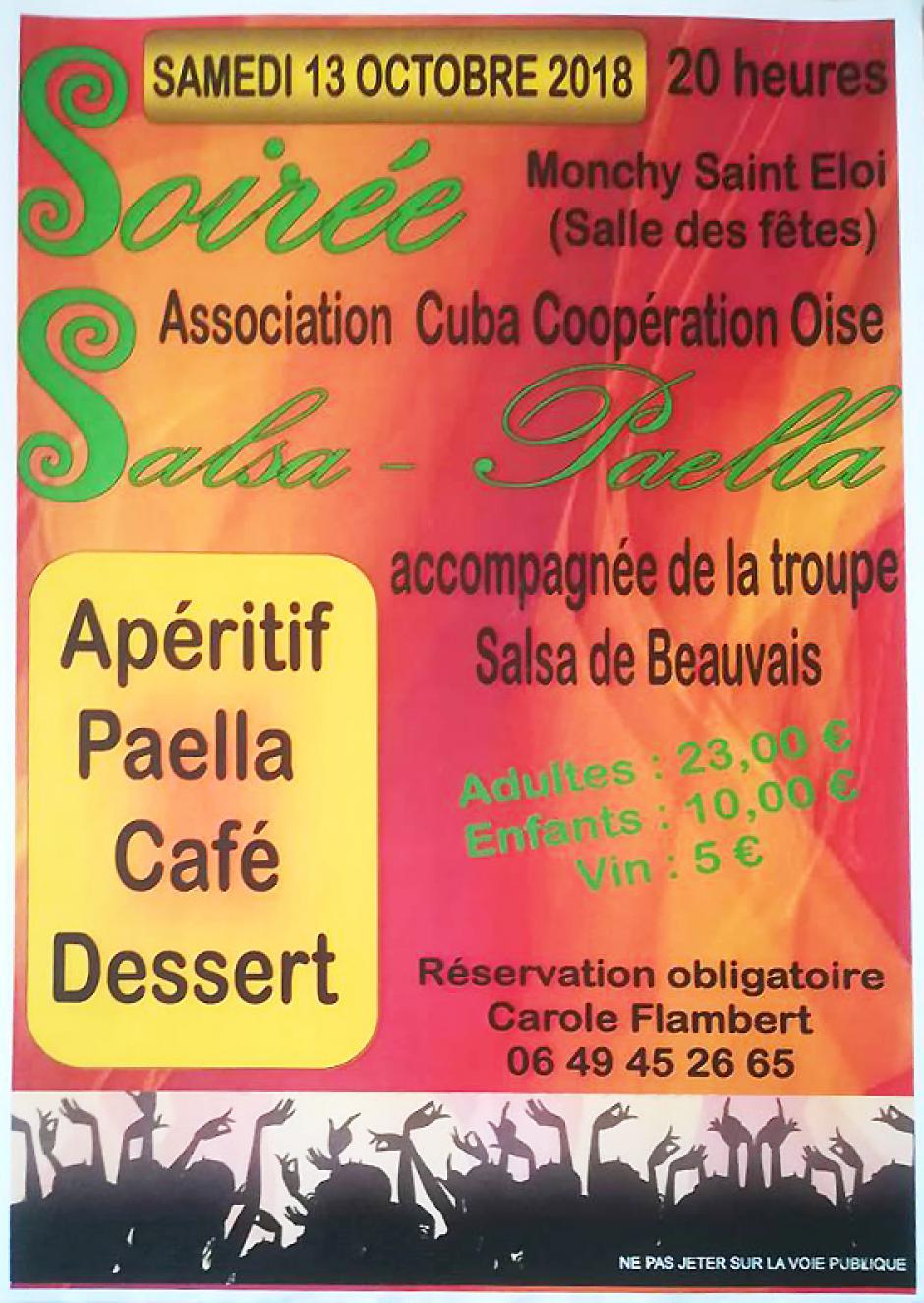 13 octobre, Monchy-Saint-Éloi - Cuba Coop Oise-Soirée salsa paella