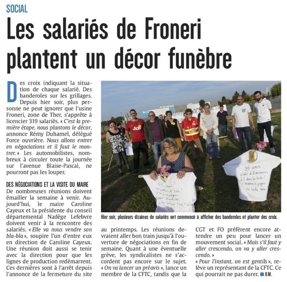 20181015-CP-Beauvais-Les salariés de Froneri plantent un décor funèbre