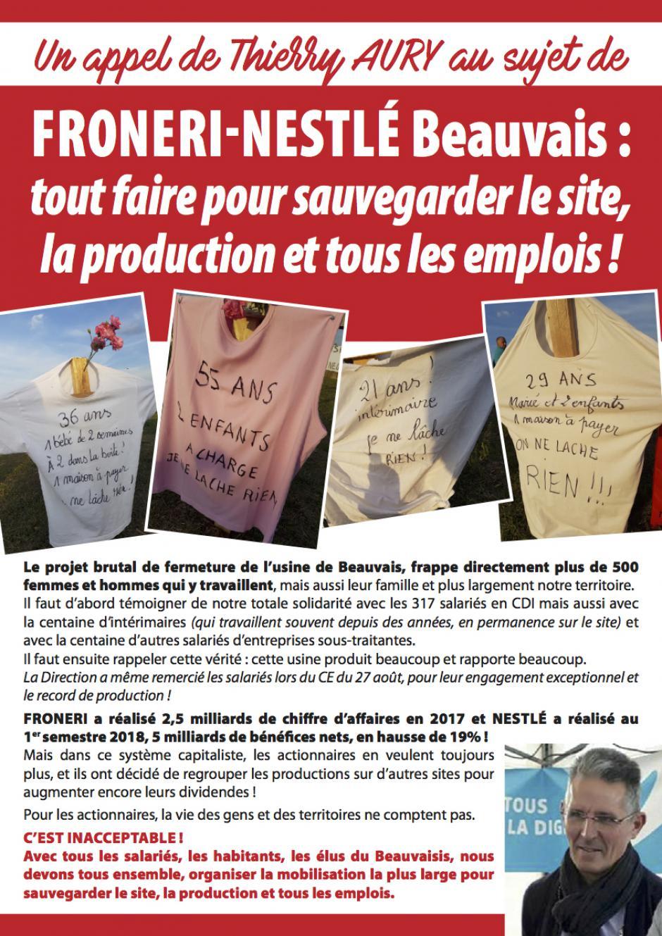 26 octobre, Beauvais - Rencontre-débat avec les salariés de Froneri-Nestlé