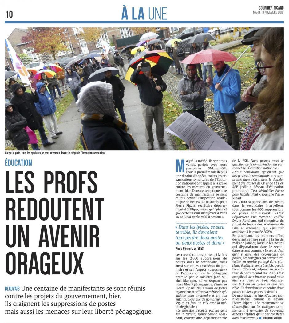 20181113-CP-Beauvais-Les profs redoutent un avenir orageux