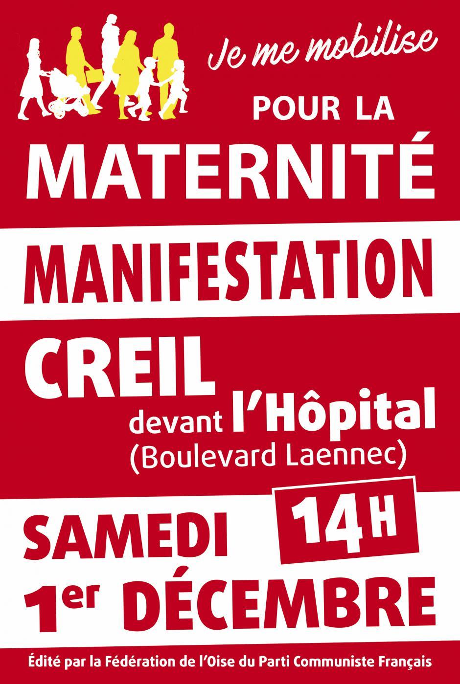 Affiche « Manifestation pour le maintien de la maternité de Creil » - Creil, 1er décembre 2018