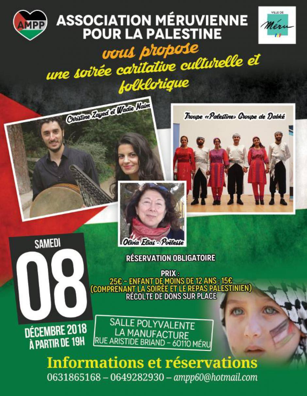 ANNULATION ! 8 décembre, Méru - Association méruvienne pour la Palestine-Soirée caritative culturelle et folklorique