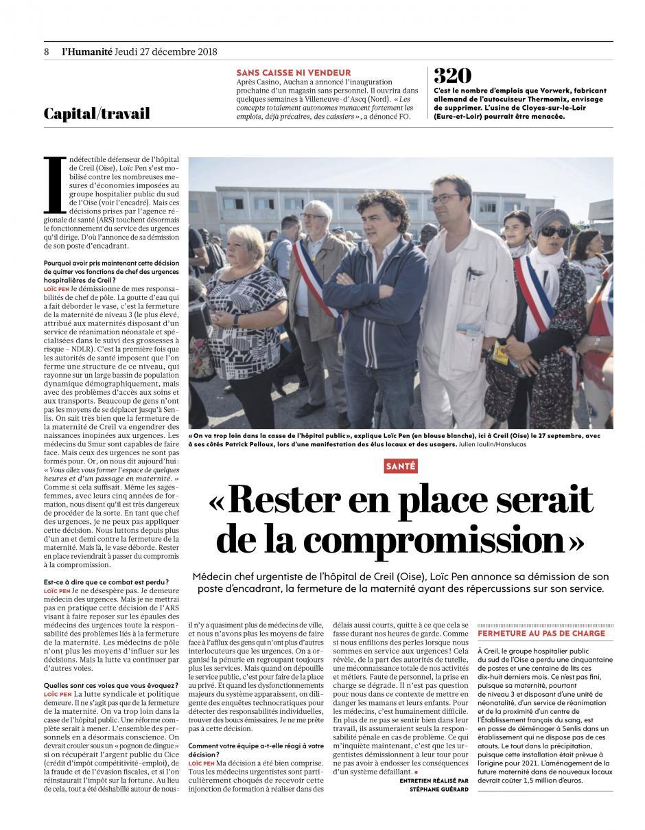 20181227-L'Huma-Creil-Loïc Pen : « Rester en place serait de la compromission »