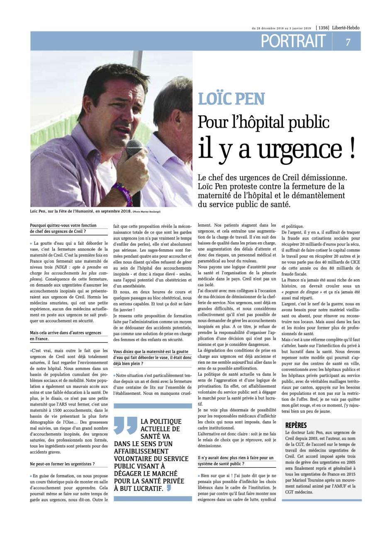 20181228-Liberté Hebdo-Creil-Loïc Pen : « Pour l'hôpital public, il y a urgence »